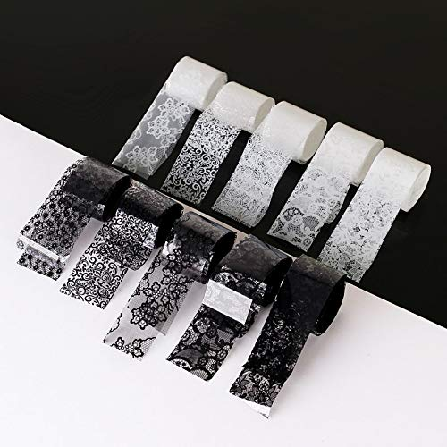 (Artlalic 10 Rolls 2.5×60cm New Black White Lace Transfer Foil Nail Art Sexy Full Wraps Flower Glue Adhesive DIY Manicure Styling Tools)