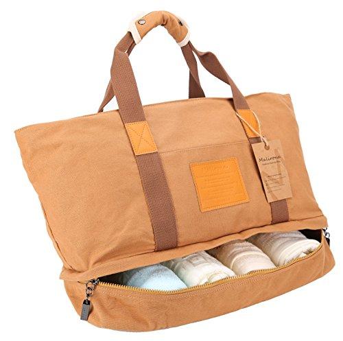 Malirona Large Workout Bag Sport Gym Tote Bag for Women with Shoes Organizer (Khaki) from Malirona