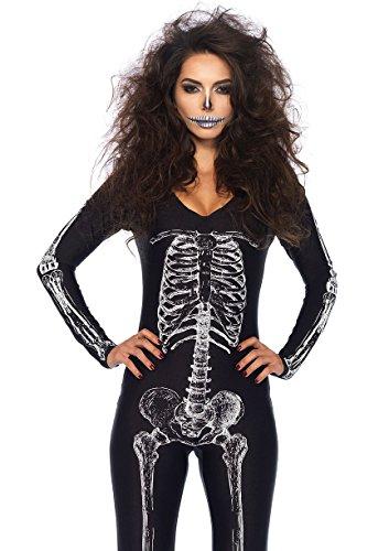 [Leg Avenue Women's X-Ray Skeleton Catsuit Costume, Black/White, Small] (Womans Skeleton Costumes)