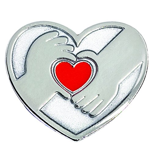 (Silver Hands Holding a Red Heart Appreciation Award Lapel Pin (12 Pins))