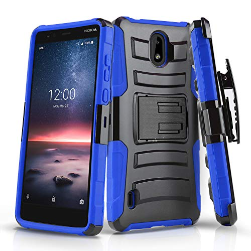 Phone Case for [Nokia 3.1C / Nokia 3.1A], [Refined Series][Blue] Shockproof [Impact Resistant] Cover with [Kickstand] & [Swivel Belt Clip Holster] for Nokia 3.1C (Cricket), Nokia 3.1A (AT&T)