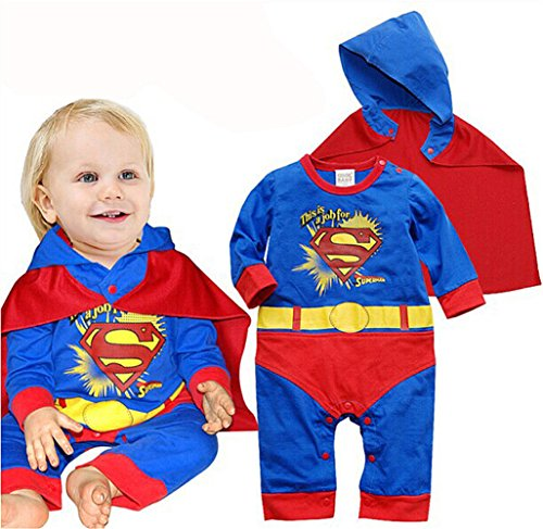 Magictolife Baby Boys Superhero Costume Romper Jumpsuit With Removable Cape super (Superman Custome)