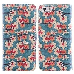 WQQ el patrón de la flor del ciruelo de la PU caso de cuerpo completo con ranura para tarjetas y soporte para el iPhone 5 / 5s
