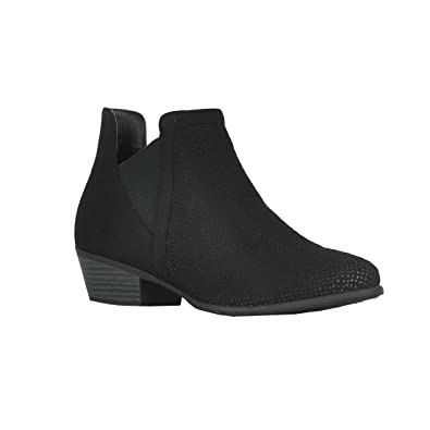 FO17 Women's Perforated Cut Out Stacked Block Heel Ankle Chelsea Booties