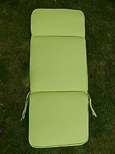 Muebles de jardín cojines–verde silla reclinable de acanalado cojín 116x 48x 5cm–3sección reposacabezas asiento y respaldo para grandes sillones de jardín