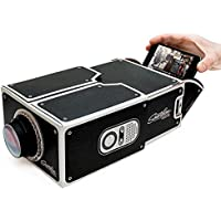 DIY Cardboard Version 2.0 Portable Smartphone Mobile Phone Projector For Home Theater - (Black)