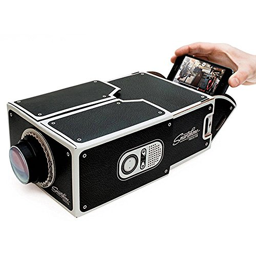 DIY Cardboard Version 2.0 Portable Smartphone Mobile Phone Projector For Home Theater - (Black) - Wall Projector For Phone
