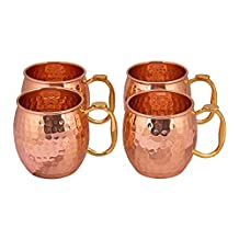 TREETOP Copper Mugs (Set of 4) | PREMIUM QUALITY |475 ML|Solid Copper Moscow Mule, Hammered Finish, Extra Shine | 100% Genuine Product | PATIO
