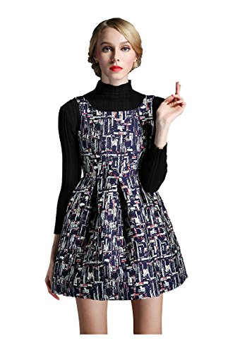 Denovelty Women's Box Pleats Abstract Print Mini Cocktail Party Tank Dress,  Blue, (Abstract Print Mini Dress)