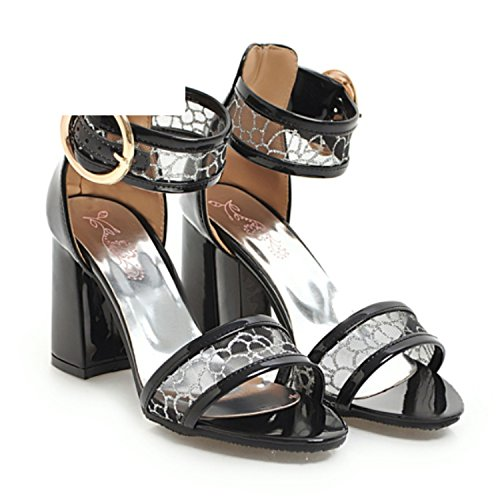 Women Sandals Size 34-43 Paten PU Lacework Buckle Strap Supper High Square Heels Women's Shoes,Black,4 (Golf Shoe Leather Euro)