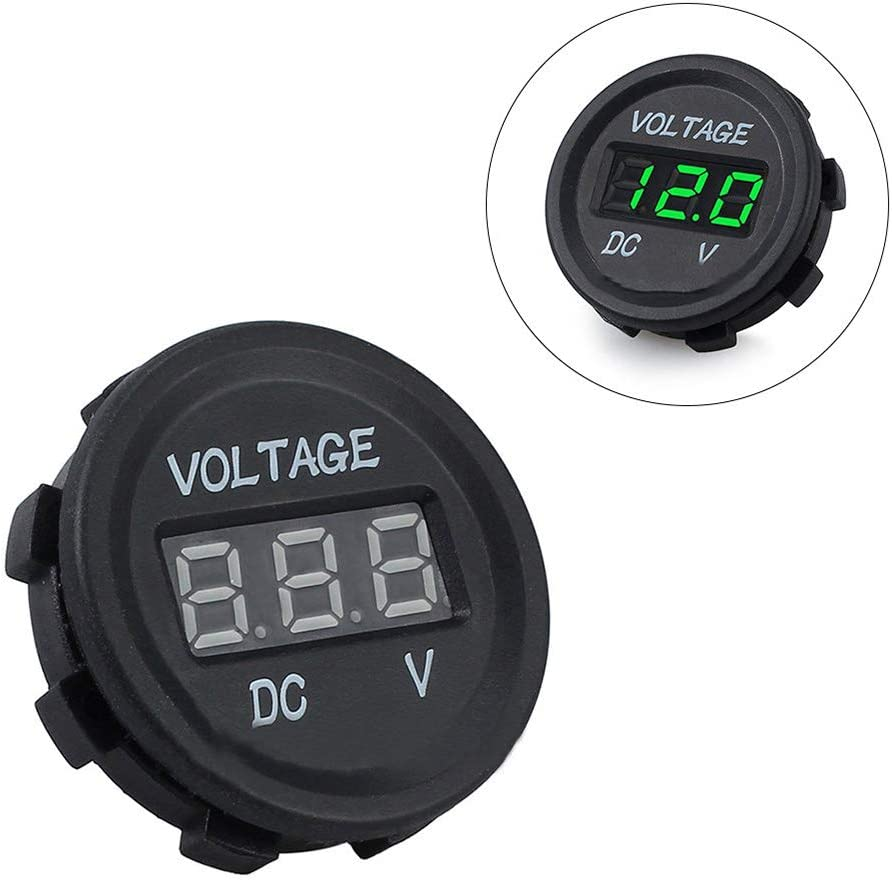 Green inherited 12V//24V Voltmeter Voltage Meter with LED Digital Display Used to Monitor The Storage-Battery Voltage Mini Universal Waterproof Voltmeter for Car Motorcycle Truck Boat