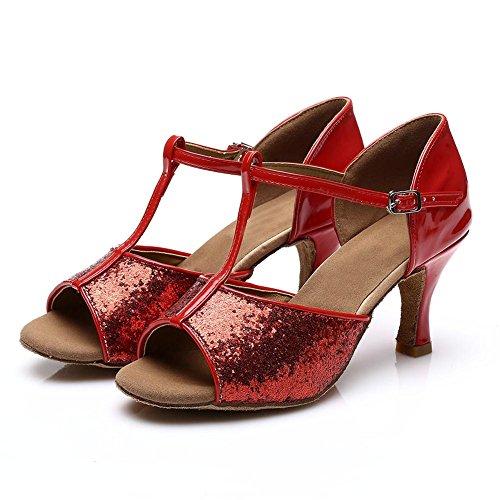 Rouge chaussures De Ballroom Pour Chaussures Danse Modèle Hroyl 216 7cm Latine Femmes Paillette 7Sp6x