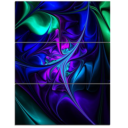 Designart MT10280-3PV Bright Blue Abstract Shapes Large Floral Metal Wall Art (3 Piece), 28'' H x 36'' W x 1'' D 3P,