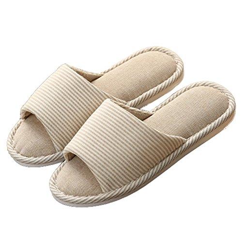 Ciabatte Pantofole Aperte Punta Lino Cotone Coperta Scarpe Sandali Antiscivolo Suola Beige Bianco
