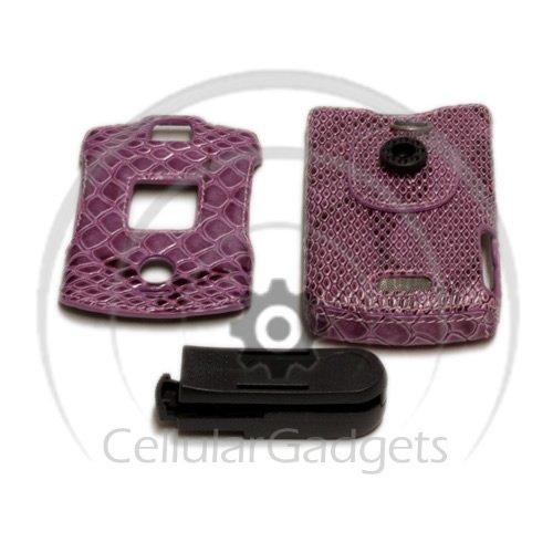 Lavender Faceplates (PREMIUM LAVENDER SNAKE SKIN with BELT-CLIP Faceplate / Case / Cover for Motorola V3)