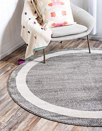 Unique Loom Del Mar Collection Contemporary Transitional Gray Round Rug 8 0 x 8 0