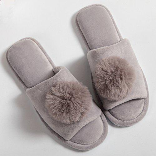 Indoor Slide Grey Slipper Slippers Women's PESTOR Soft Spa Open Coral Ball House Velvet Toe qSvqC0w