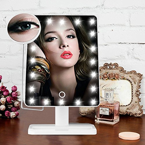 hot sale 5A-AKKU Illuminated Makeup Mirror Smart Touch Lighted Vanity Cosmetic Mirror with Movable 10x Magnification 20 LED for Bedroom Bathroom(White)
