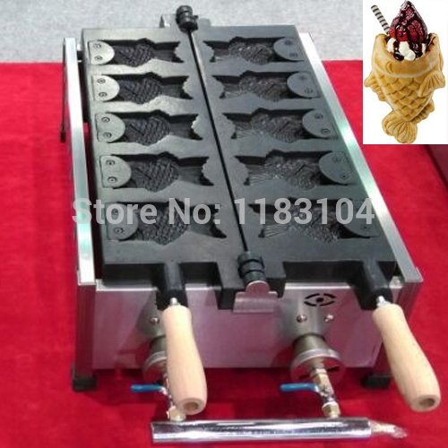 LPG Gas Icecream Open Mouth Taiyaki Japanese Fish Waffle Maker Machine Baker Iron Mold by ANGELGARDEN