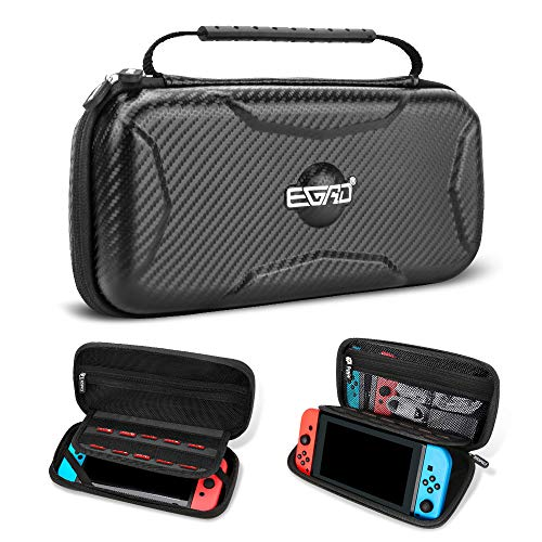 EGRD Carrying Case for Nintendo Switch-Hard Shell Protective Messenger Bag Lining 15 Games with Switch Holder Portable Travel Carrying Pouch for Nintendo Switch Console&Accessories-Black