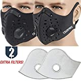 MoHo Dust Mask, Upgrade Version Activated Carbon Dustproof Mask Windproof Foggy Haze Anti-Dust Mask Motorcycle Bicycle Cycling Half Face Mask for Outdoor Activities (Black+Gray)
