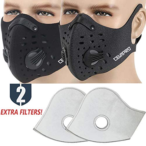 MoHo Dust Mask, Upgrade Version Activated Carbon Dustproof Mask Windproof Foggy Haze Anti-Dust Mask Motorcycle Bicycle Cycling Half Face Mask for Outdoor Activities (Black+Gray) ()