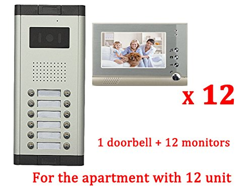 (YuHan Apartment Wired 7 Inch Monitor Video Door Phone Audio Visual Intercom Entry Access System 12 Units)