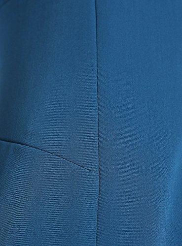 oodji Collection Mujer Vestido Básico sin Mangas Azul (7400N)