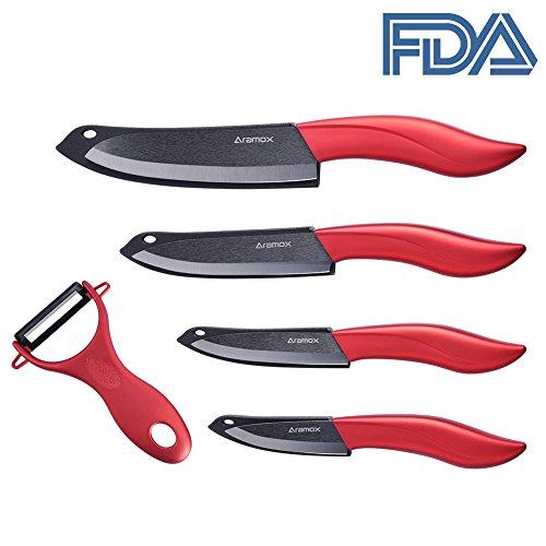 Ceramic Knife Set,5 Pack Black Ultra Sharp Kitchen Ceramic Knife with Sheath Covers Rust Proof&Stain Resistant Ceramic Fruit Vegetable Peeler,FDA Approved - Knife Black Handle Plastic Sheath