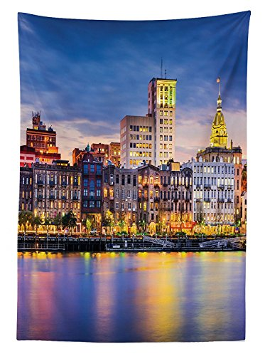 - vipsung Scenery Decor Tablecloth European City Country Landscape Light Reflection to The Sea Harbor Image Photo Dining Room Kitchen Rectangular Table Cover Multi