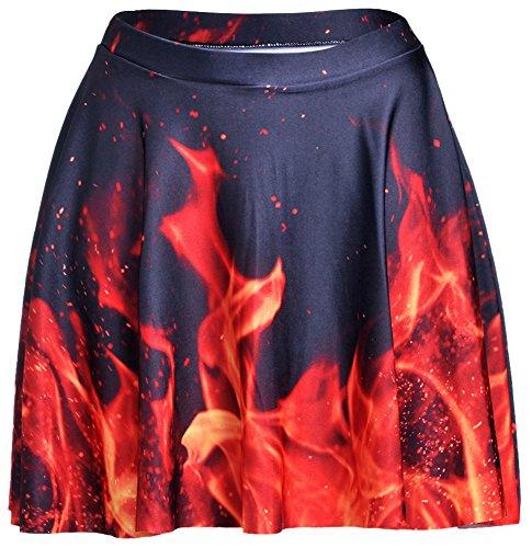 Happy Cool Women's Pattern Printed Digital Casual Flared Skater Bust Skirt Fire - Digital Pattern