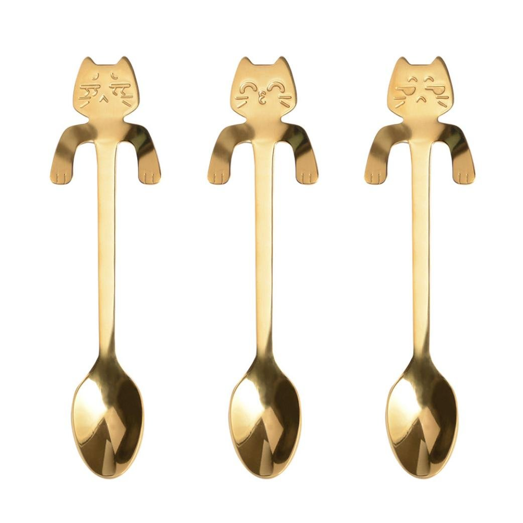 Creative 4PCS Cute Cat Spoon Long Handle Spoons Flatware Coffee Drinking Kitchen Tools Food Grade 304 Stainless Steel Tableware Teaspoon (Black) Dinglong