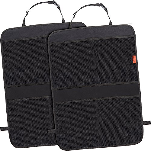 Kick Mat Car Seat Back Protectors with Odor Free, Premium Waterproof Fabric, Reinforced Corners to Prevent Sag, and 4 Mesh Pockets for Large Storage (Seat Gear Baby)