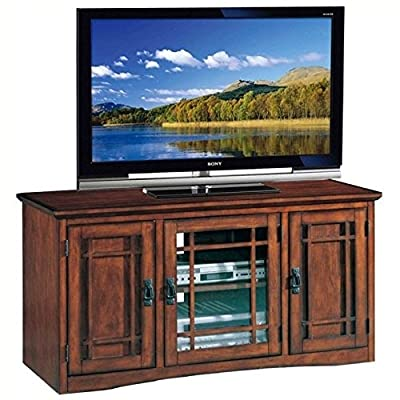 """Leick Riley Holliday Mission Tall TV Stand, 50-Inch, Oak - Holds popular TV sizes up to 52"""" Durable construction of select hardwood solids and oak veneers Hand applied multi-step rich mission oak finish - tv-stands, living-room-furniture, living-room - 51b wYkP9RL. SS400  -"""