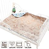 Toddler Mattress Protector Rattan Cooling Summer Sleeping Pads Diaper Changing Waterproof (Coffee, 80120cm)