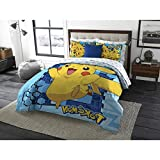 3 Piece Kids Blue Yellow Pokemon Theme Comforter Twin Full Set, Fun Cute All Over Multi Pikachu Bedding, Stylish Bold Bright Geometric Anime Cartoon Themed Pattern