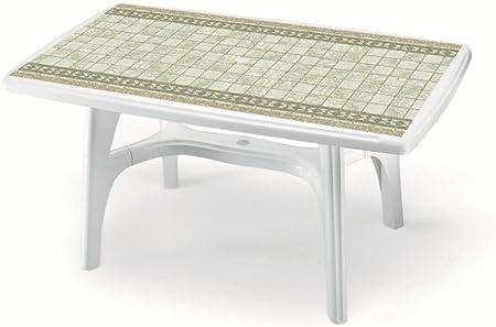 Mesa rectangular para exterior, Mesa Resina 150 x 90, mesa para jardín, mesa plástico blanco con Piano Estampado: Amazon.es: Hogar