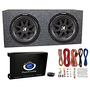 "2) Kicker 43C124 12"" 600W Subwoofers + Sub Box + Mono 1500W Amplifier + Amp Kit"