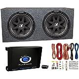 2) Kicker 43C124 12 600W Subwoofers + Sub Box + Mono 1500W Amplifier + Amp Kit