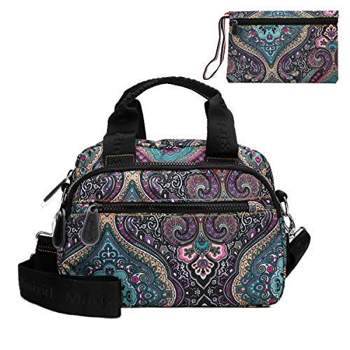 Crossbody Purse for Women, Nylon Lightweight Water-resistant Shoulder Bag, Sport Travel Beach Shopping Tote Bag With Wallet (Mandala)