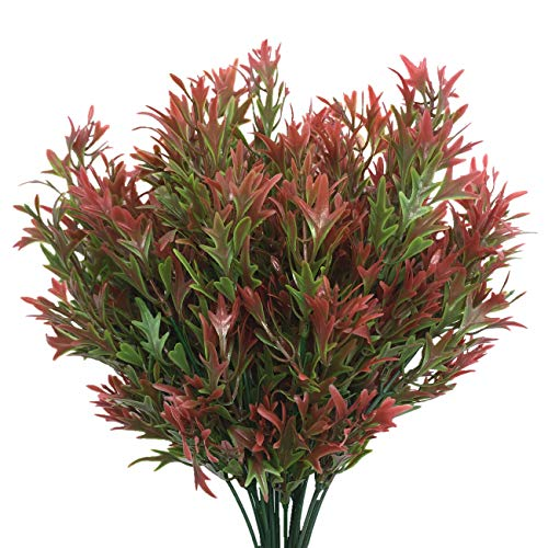 CATTREE Artificial Plants, Fake Grass Plastic Leaves Shrubs Simulation Greenery Bushes Indoor Outdoor Home Garden Office Yard Verandah Wedding Decoration - Red 4 Pcs
