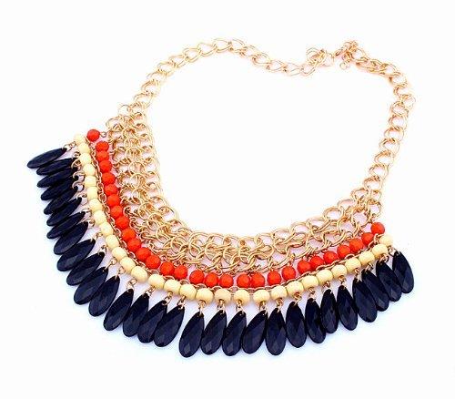 Buy Home Bohemian Layered Round Bead Dangling Drops Statement Bib Necklace (Orange)