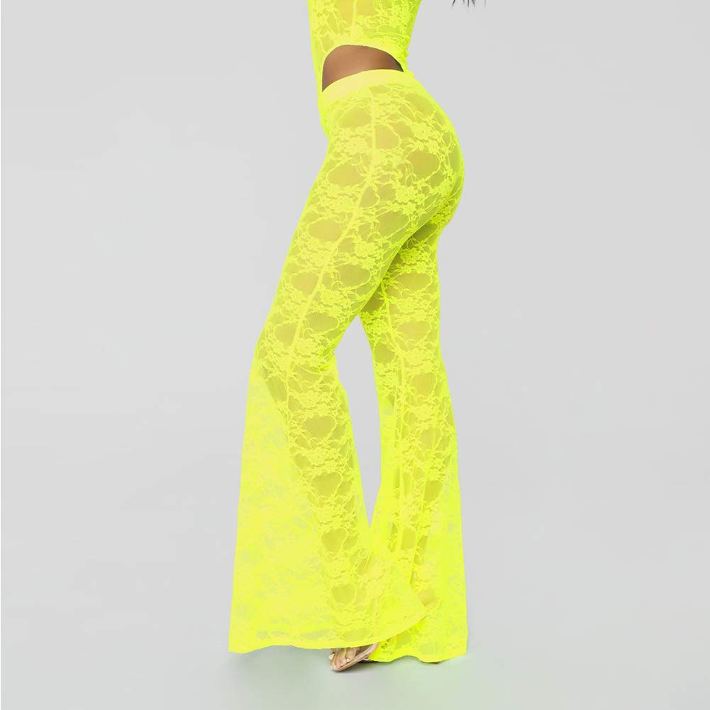 Womens Lace Two Piece Set Bodysuit and Pants Sleeveless Skinny Tracksuit