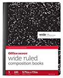 Office Depot Composition Book, 7 1/2in. x 9 3/4in, Wide-Ruled, 100 Sheets, Black/White Marble, Pack of 3, 14776