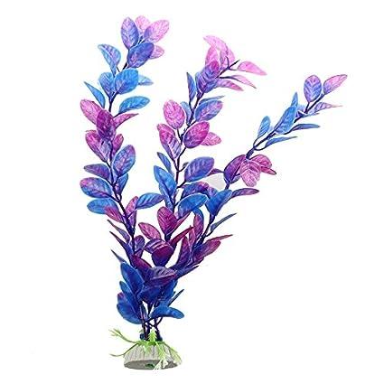 SODIAL(R) Planta Artificial Plastico Decoracion para Acuario Pecera Color Azul