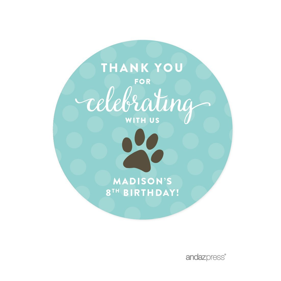 Andaz Press Personalized Birthday Round Circle Labels Stickers, Thank You for Celebrating With Us, Animal Pawprint, 40-Pack, For Gifts and Party Favors, Custom Name