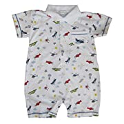 Kissy Kissy Baby Boys' Aviators Print Short Playsuit with Collar, Multi, 0-3 Months