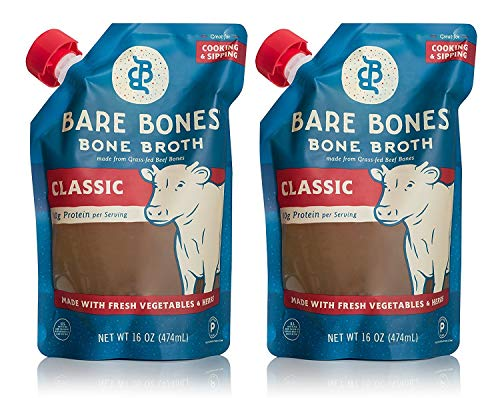Beef Bone Broth by Bare Bones - 100% Grass-fed, Organic, Beef Bone Broth, Protein/Collagen-rich, 16 oz (2-pack)