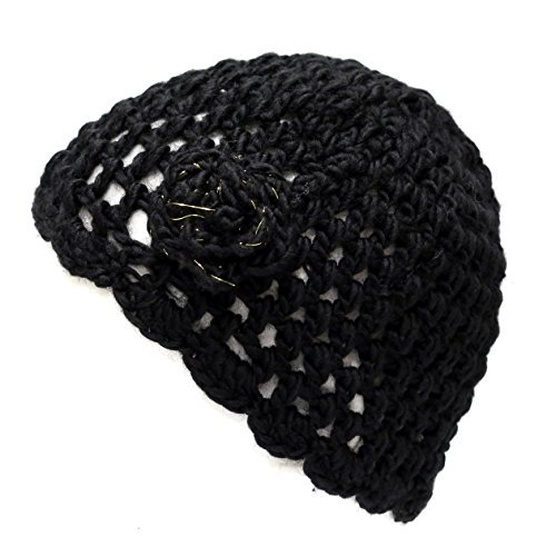 (THE HAT DEPOT 700hat20 Women's Crochet Knit Beanie with Flower Decoration (Black))