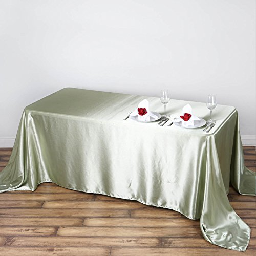 "Efavormart 90x132"" Rectangle RESEDA Wholesale SATIN Tablecloth Banquet Linen Wedding Party Restaurant Tablecloth"